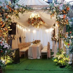 cổng cưới hoa lụa